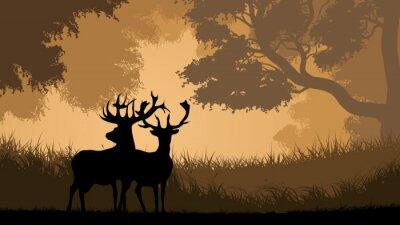 Fototapeta Ilustracja poziome dzikich zwierząt w lesie.