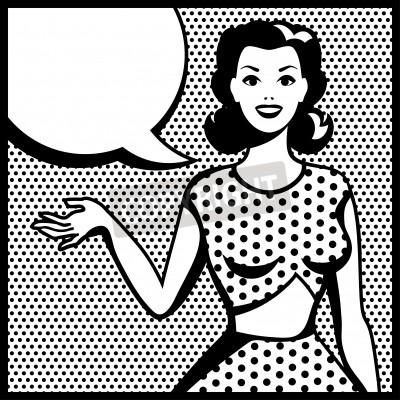 Fototapeta Ilustracja retro dziewczyna w stylu pop