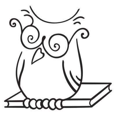 Fototapeta Ilustracja siedzenia Sowa na książce