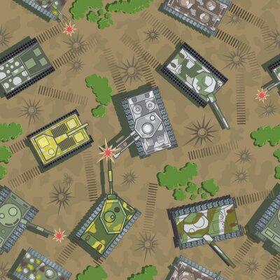 Fototapeta ilustracja składająca się z bez szwu wzoru w postaci walki z animowanym czołgiem