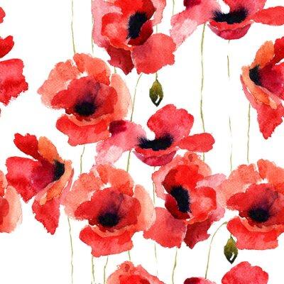 Fototapeta Ilustracja stylizowane kwiaty Poppy