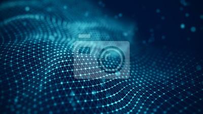 Fototapeta Ilustracja technologii danych. Streszczenie futurystycznym tle. Fala z łączącymi kropki i linie na ciemnym tle. Fala cząstek.