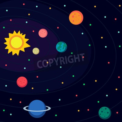 Fototapeta Ilustracja w stylu płaskiej o przestrzeni kosmicznej.