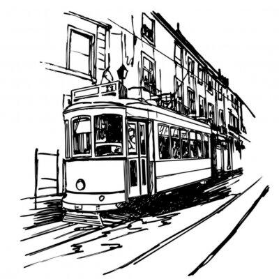 Fototapeta Ilustracja wektora typowy tramwajów w Lizbonie - Portugalia