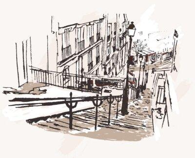 Fototapeta Ilustracja wektora widoku Montmartre w Paryżu