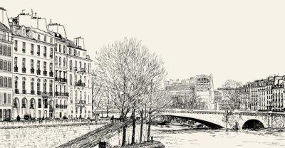 Fototapeta Ilustracja wektora widoku z Pont St Louis na brzegu Sekwany