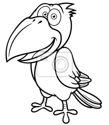 Fototapeta ilustracja wektorowa cartoon kruk kolorowanka - Coloriage corbeau ...