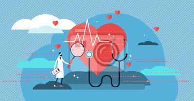 Fototapeta Ilustracja wektorowa kardiolog. Koncepcja mini osoby z pracy zdrowia serca
