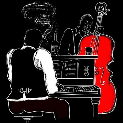 Fototapeta Ilustracja wektorowa Piano Jazz i kontrabas