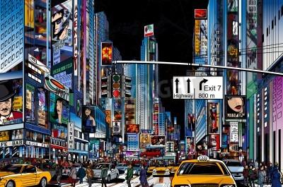 Fototapeta Ilustracja wektorowa z ulicy w Nowym Jorku w nocy