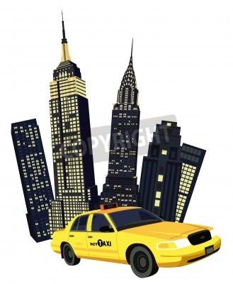 Fototapeta Ilustracja z drapaczy chmur i Nowym Jorku taksówki na białym tle