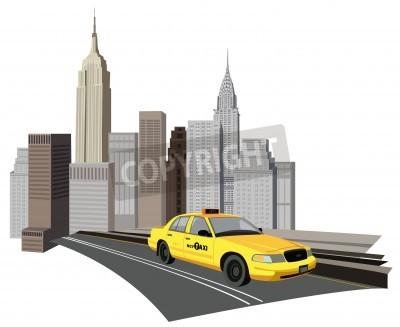 Fototapeta Ilustracja z drapaczy chmur i taksówki w Nowym Jorku