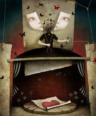 Fototapeta Ilustracja z maskami, serca i motyle