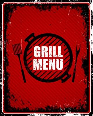 Fototapeta Ilustracja z menu w stylu vintage Grill Zaloguj