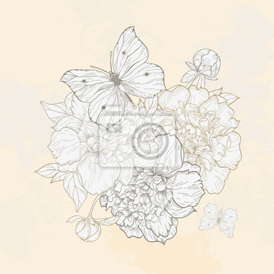 Ilustracja z piwonii i motyl