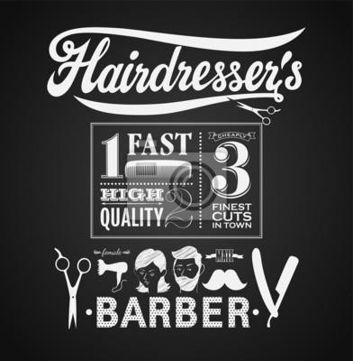 Ilustracja z rocznika elementów graficznych dla fryzjera