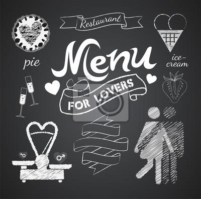 Ilustracja z rocznika elementów graficznych dla menu na tablicy