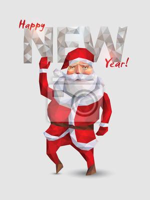 Ilustracja z Santa Claus w stylu origami.