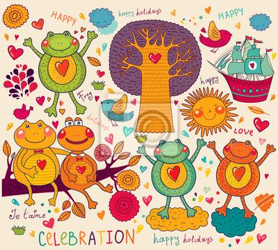 Ilustracja z zabawnych żab