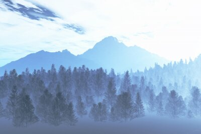 Fototapeta Ilustracja Zima Północnej Noc