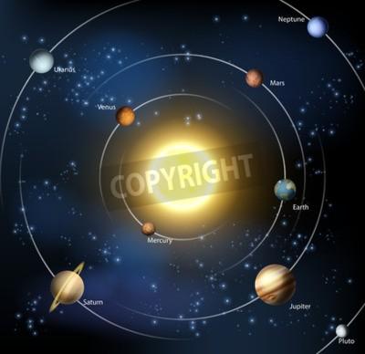 Fototapeta Ilustrację naszego układu słonecznego z wszystkich oficjalnych planet powiększonej Plutona.