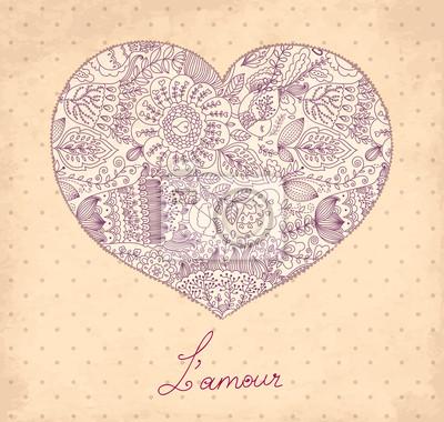 Fototapeta Ilustracje romantyczną kartkę z życzeniami z serca