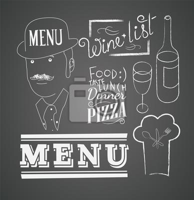 Ilustracje z elementów projektu do menu na tablicy