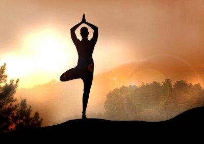 Fototapeta Ilustracji jogi na Górze