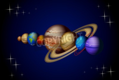 Fototapeta ilustracji planet układu słonecznego z Wenus do Neptuna na ciemnym tle