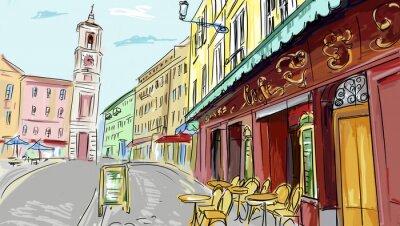 Fototapeta ilustracji. street - fasady starych domów