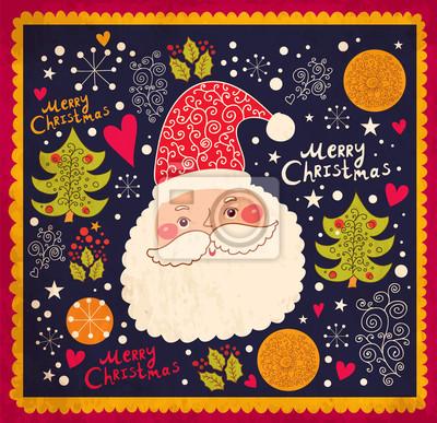 Ilustracji wektorowych Boże Narodzenie z Funny Santa Claus