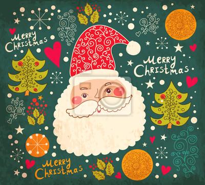 Fototapeta Ilustracji wektorowych Boże Narodzenie z Funny Santa Claus