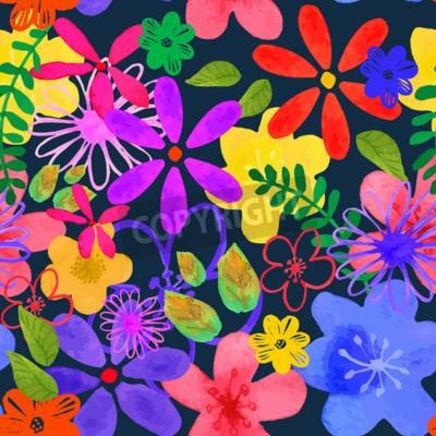 dba8176798cfe9 ilustracji wektorowych Floral bezszwowe. Izolowane żółty, różowy,  fioletowy, liliowy, niebieski kwiaty
