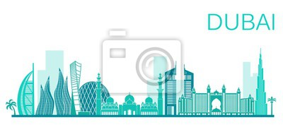 Fototapeta Ilustracji wektorowych miasta Dubaju. Wektor czas