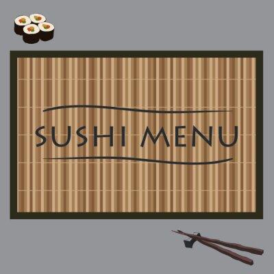Fototapeta ilustracji wektorowych sushi na maty bambusowe i pałeczki