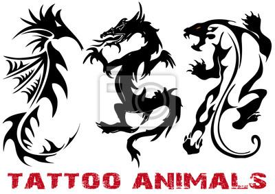 Ilustracji Wektorowych Tatuaż Smok Lew Konik Morski Fototapety Redro