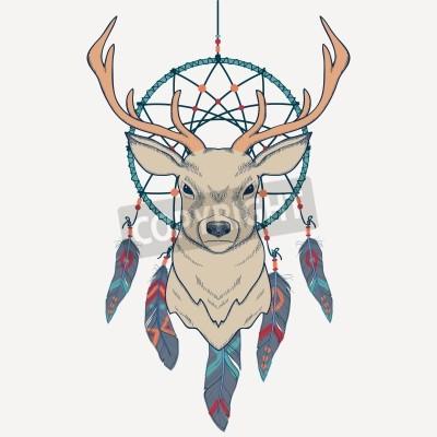 Fototapeta Ilustracji wektorowych z jelenia i Dreamcatcher