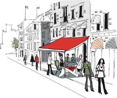 Fototapeta Ilustracji wektorowych z kawiarni ulicy europejskiej scenie