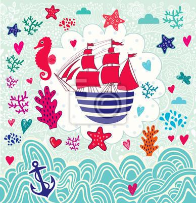 Ilustracji wektorowych z kreskówki żagiel statku morskiego