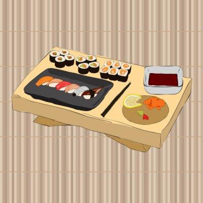 Fototapeta Ilustracji wektorowych z różnych kawałków sushi pałeczkami