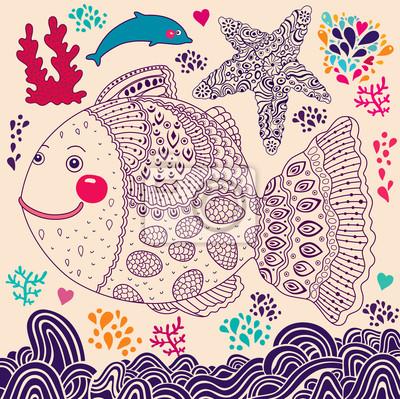 Ilustracji wektorowych z ryb