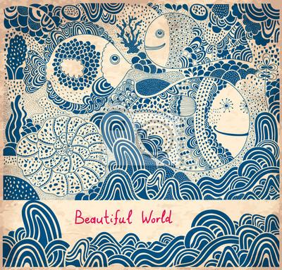 Fototapeta Ilustracji wektorowych z ryb i wielorybów
