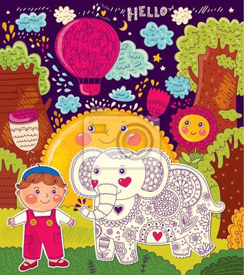 Fototapeta Ilustracji wektorowych z słonia i chłopiec