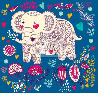Fototapeta Ilustracji wektorowych z słonia wakacje