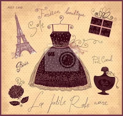 Ilustracji wektorowych z symboli francuskiej mody