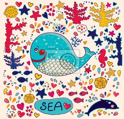 Fototapeta Ilustracji wektorowych z wieloryba
