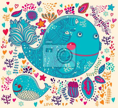 Fototapeta Ilustracji wektorowych z wielorybów