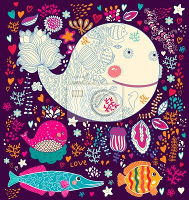 Ilustracji wektorowych z wielorybów i ryb