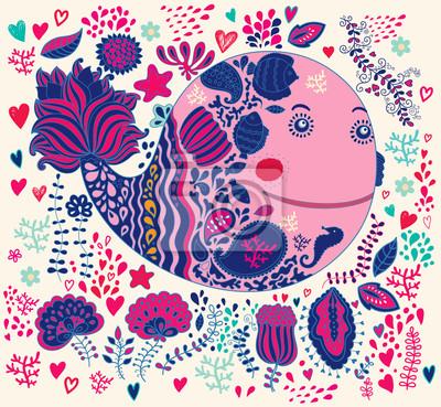 Ilustracji wektorowych z Zabawna wieloryba