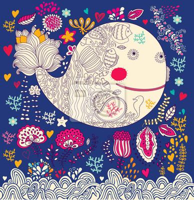 Fototapeta Ilustracji wektorowych z Zabawna wieloryba